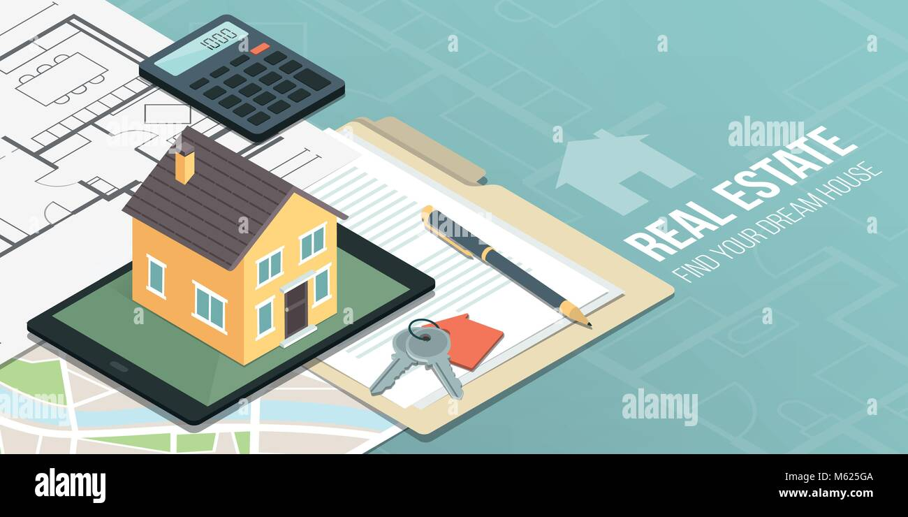 Model house on a digital tablet, home project, map and contract: real estate, home insurance and loan concept Stock Vector