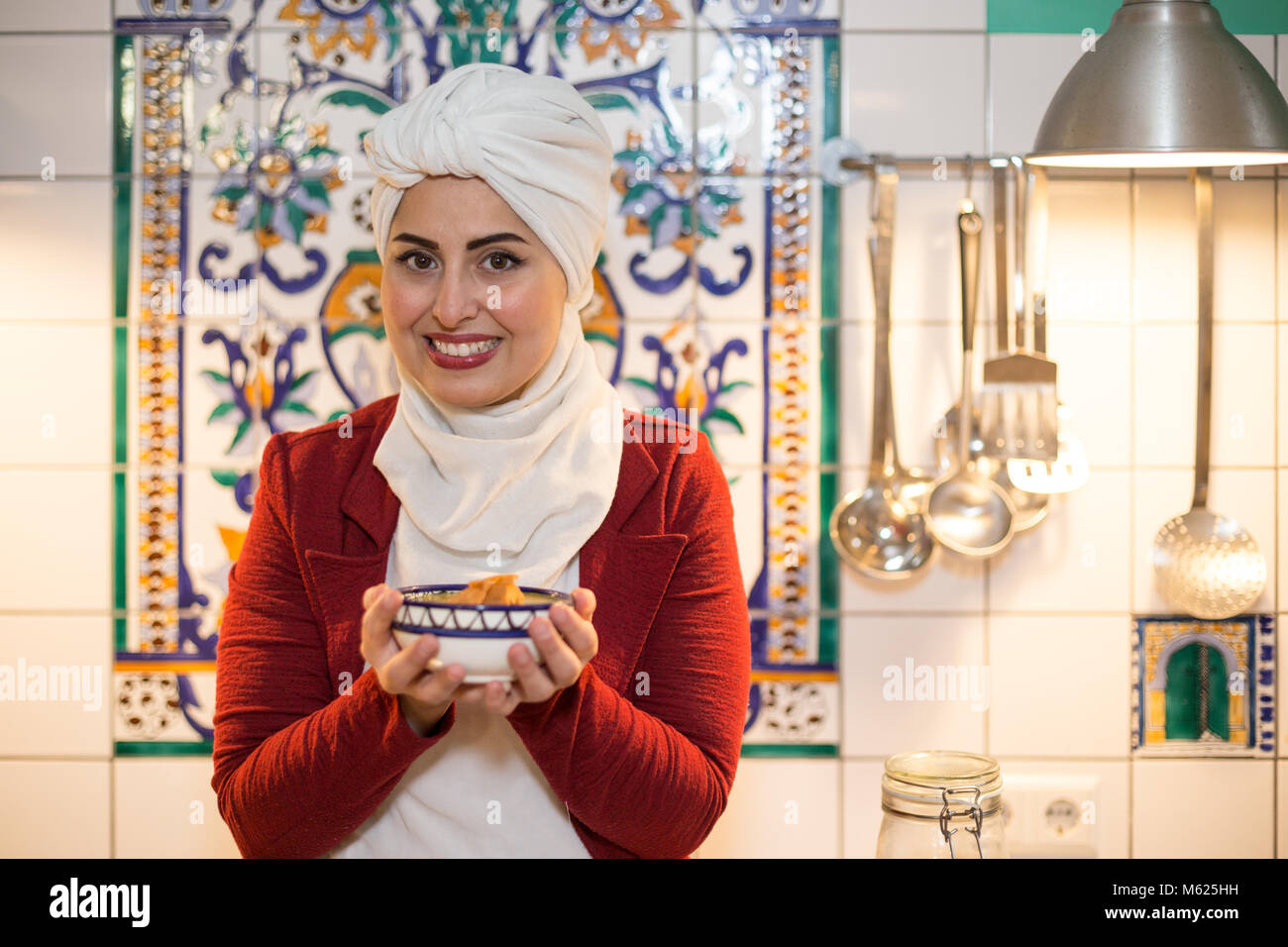 Malakeh Jazmati, Syrian TV-Star of a Cooking Show, cookbook author, refugee, living in exile in Berlin, Germany. Stock Photo