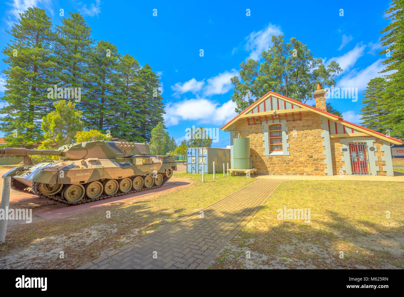 Esperance, Australia - Dec 26, 2017: Leopard Tank near War Memorial and RSL building on Dempster Street in Esperance, - Stock Image