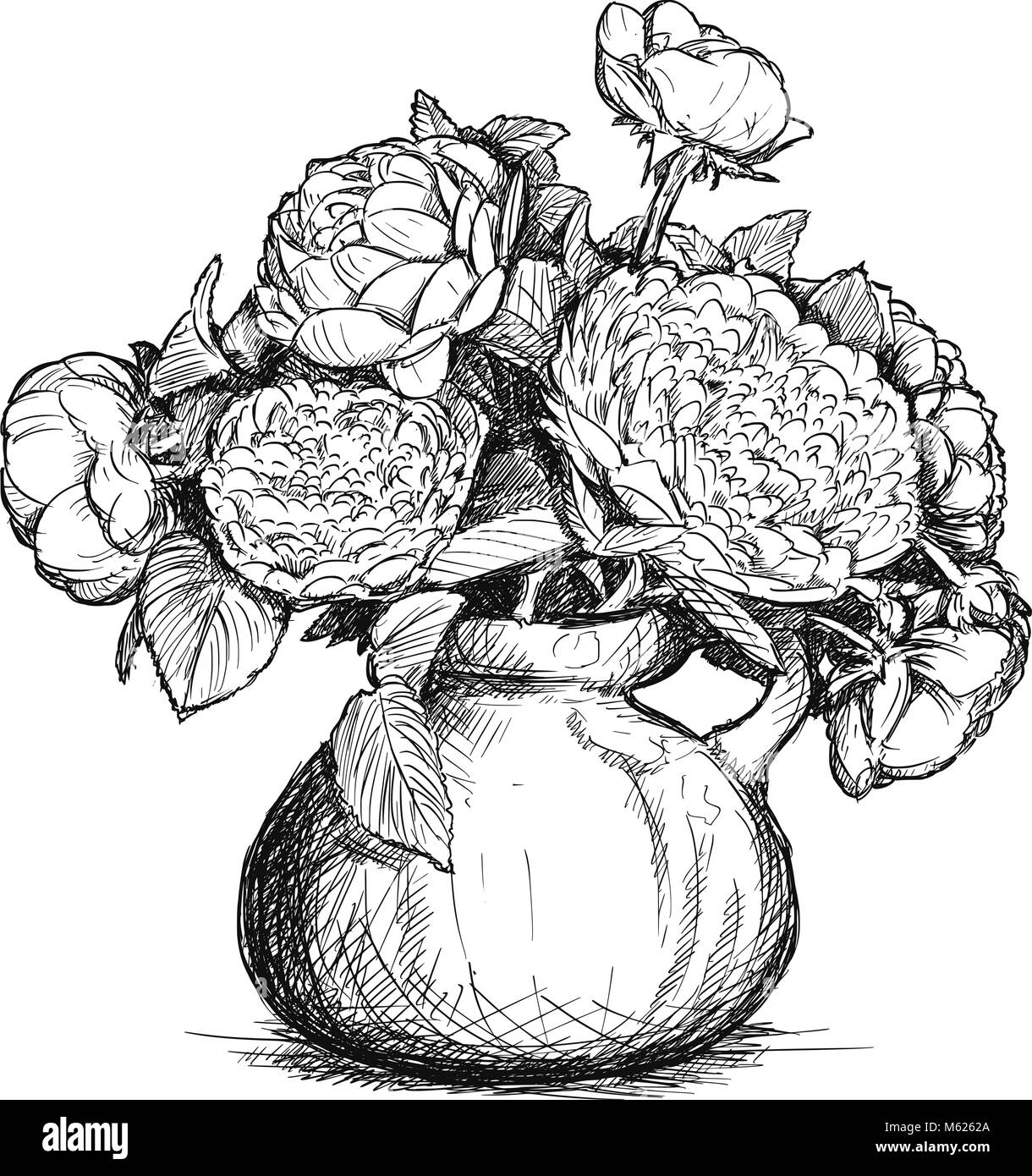 Vector Hand Drawing of Rose and Peony Flower Bouquet in Vase Stock ...