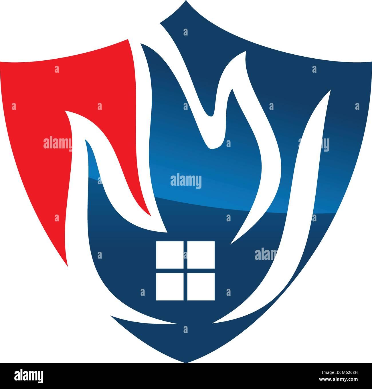 Fire Shield Logo Design Template Vector Stock Vector Art ...