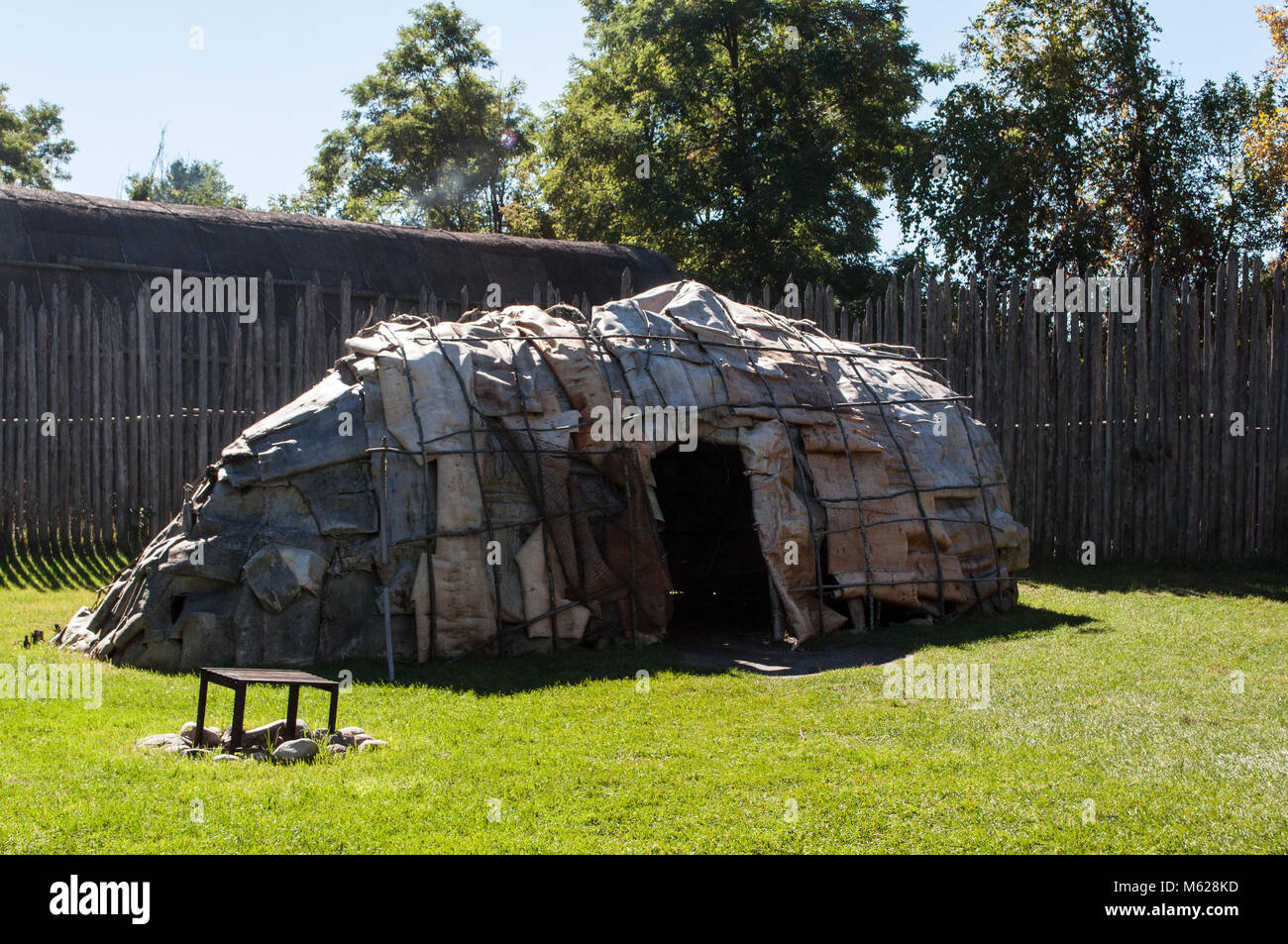A wigwam at Sainte-Marie among the Hurons, the headquarters for the French Jesuit Mission to the Huron Wendat people. - Stock Image