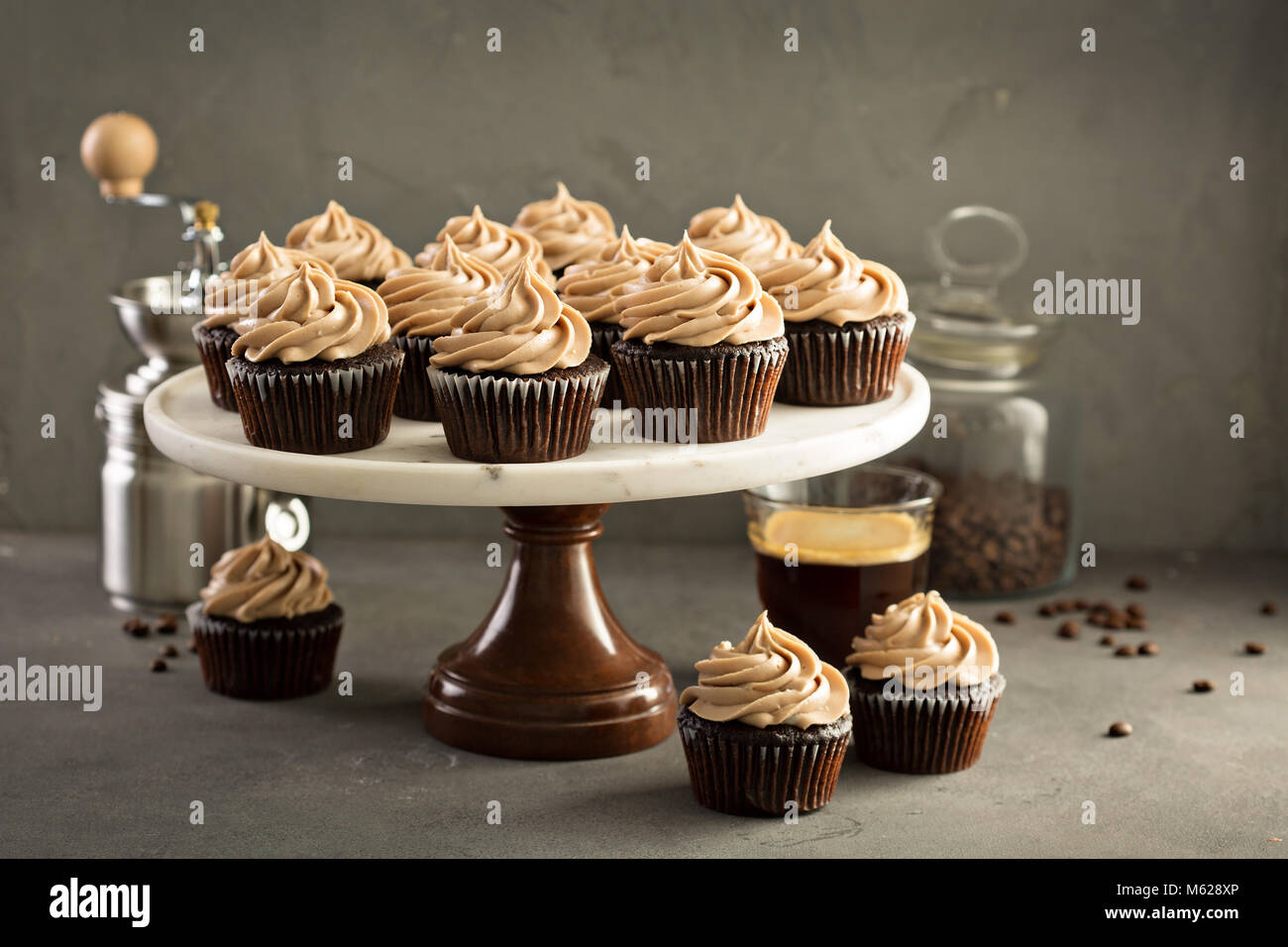 Chocolate espresso cupcakes - Stock Image