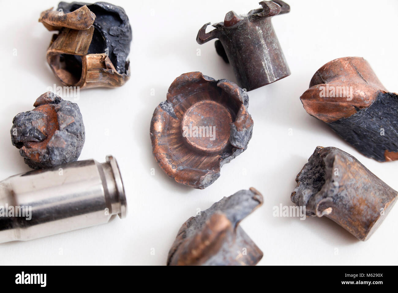 Various types of recovered spent bullets (projectiles) showing expansion (mushrooming) - USA - Stock Image