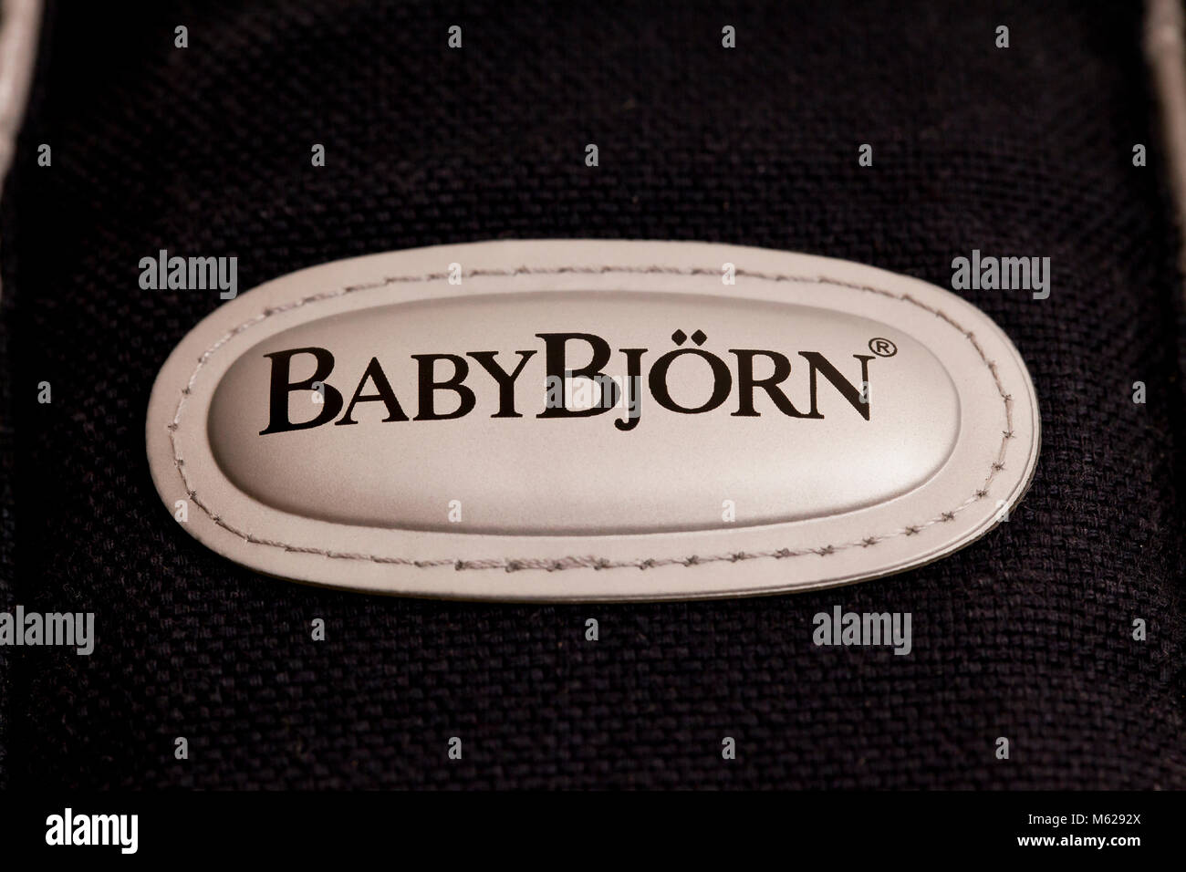 Baby Bjorn brand label on product - Stock Image