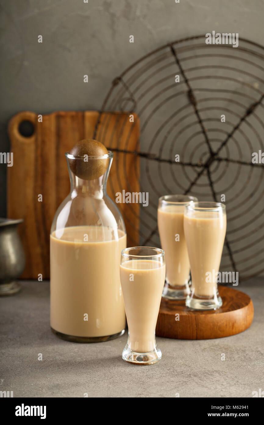 Homemade irish cream liquor Stock Photo