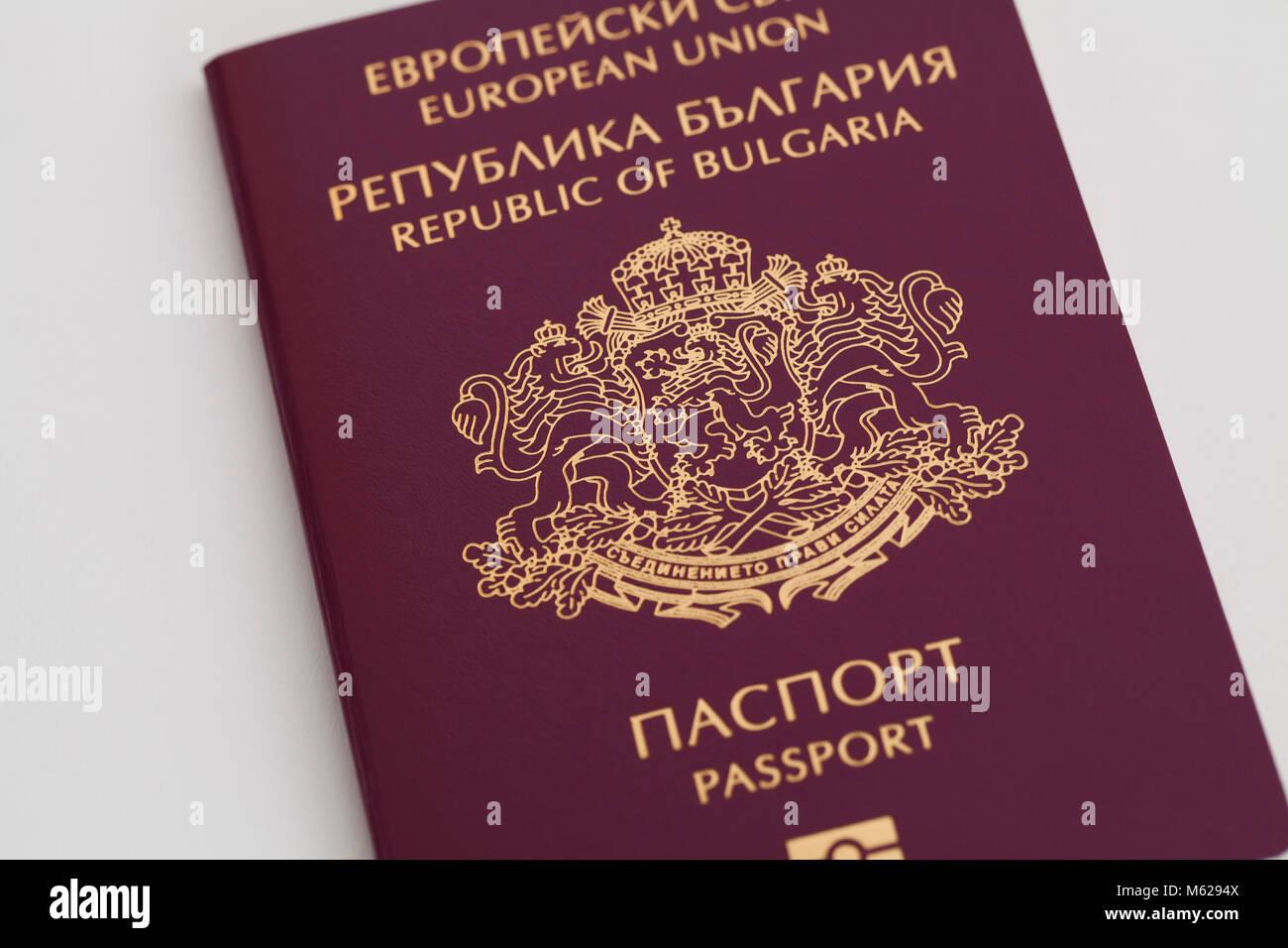 New Bulgarian passport (European Union Republic of Bulgaria) - Stock Image