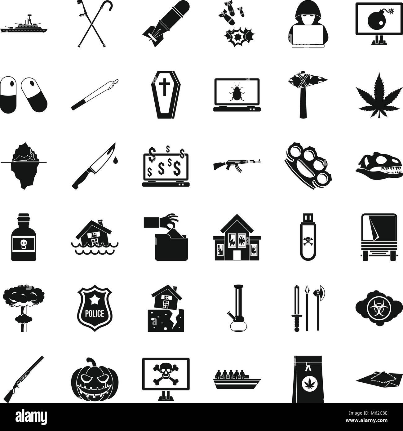 Tyranny icons set, simple style - Stock Image