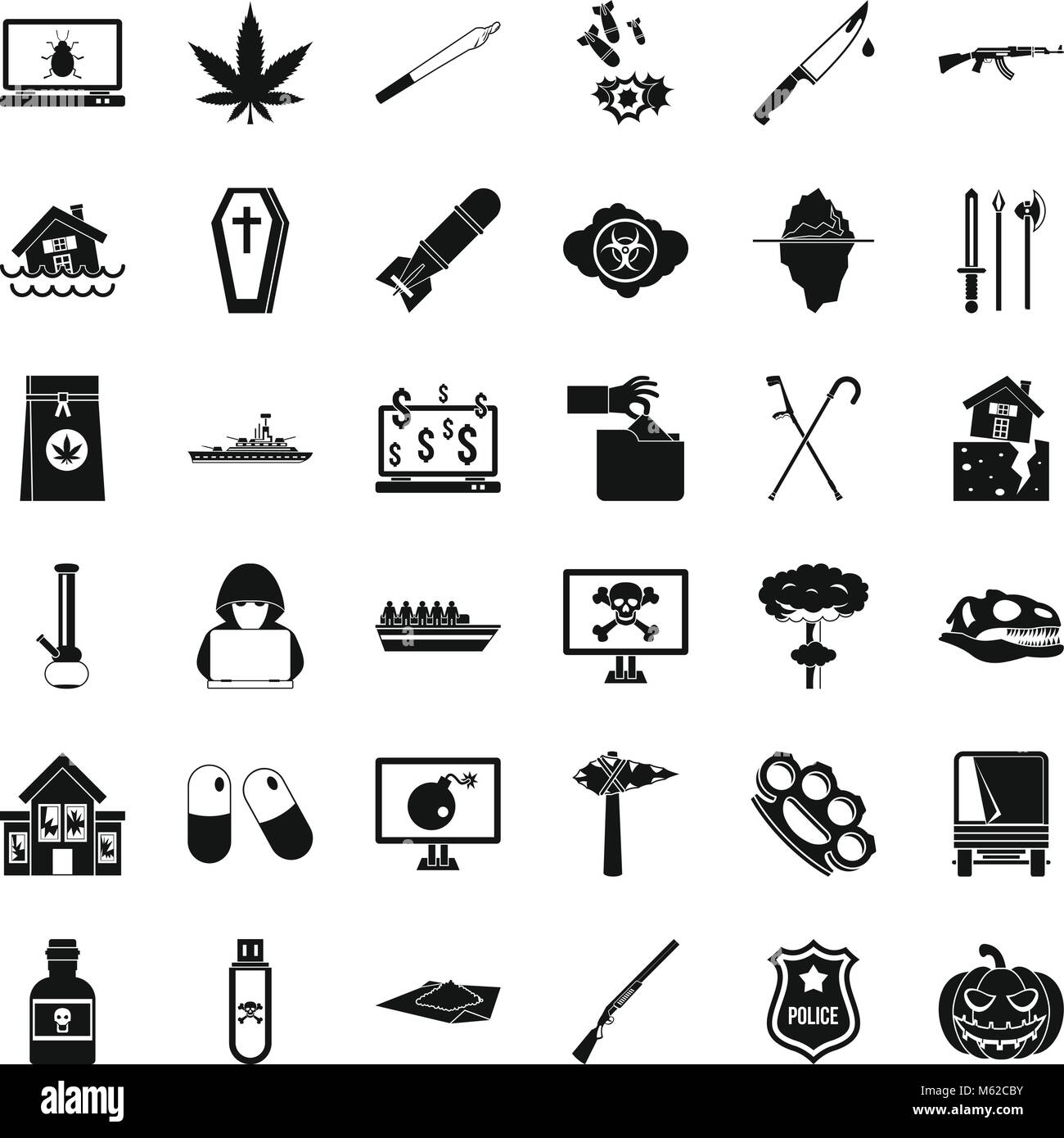 Callousness icons set, simple style - Stock Image
