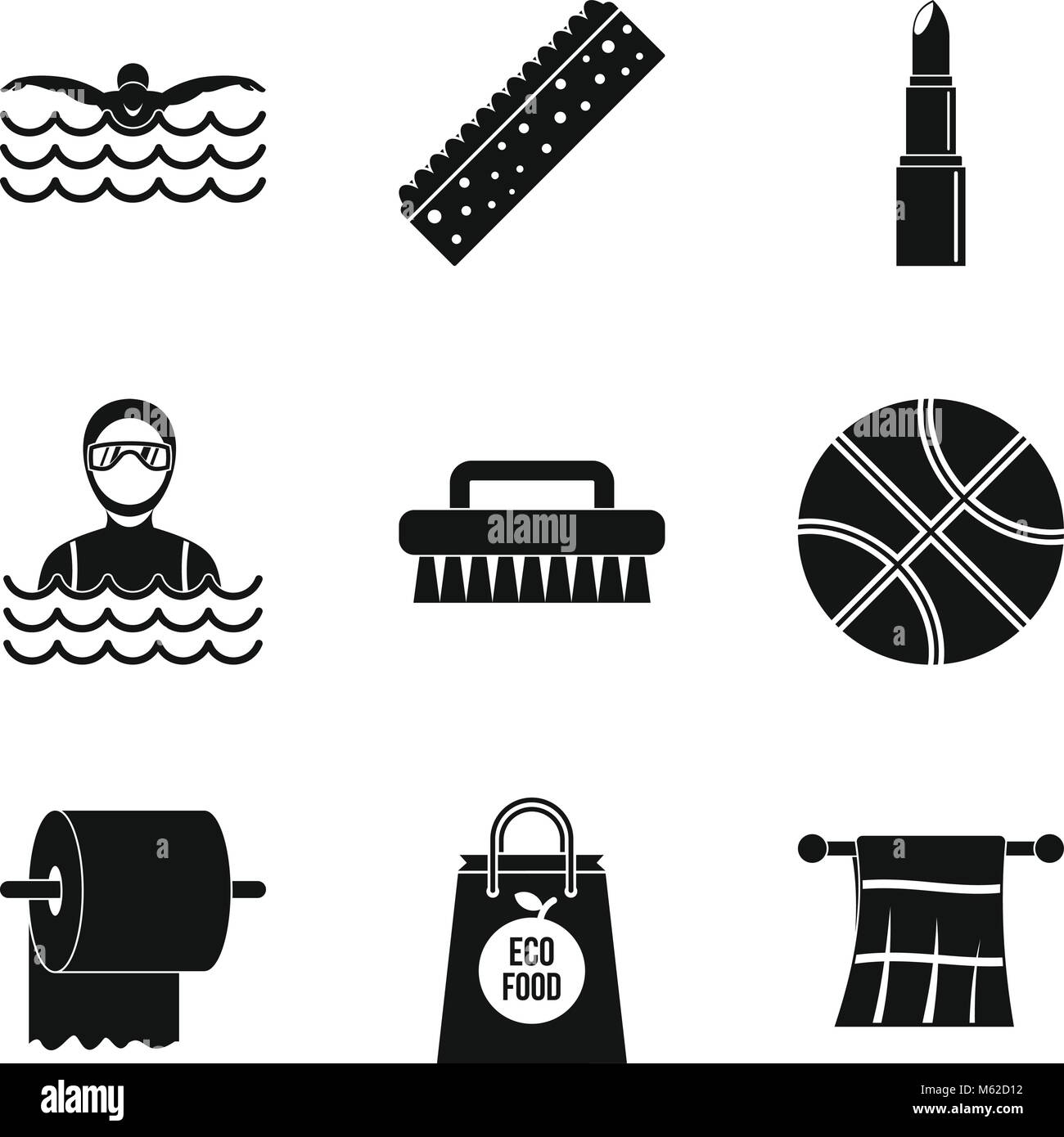 Olympic icons set, simple style - Stock Vector