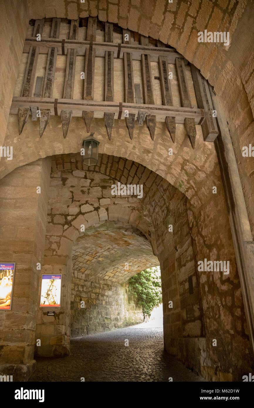 gate with portcullis, The Veste Coburg, or Coburg Fortress, Upper Franconia, Bavaria, Germany - Stock Image