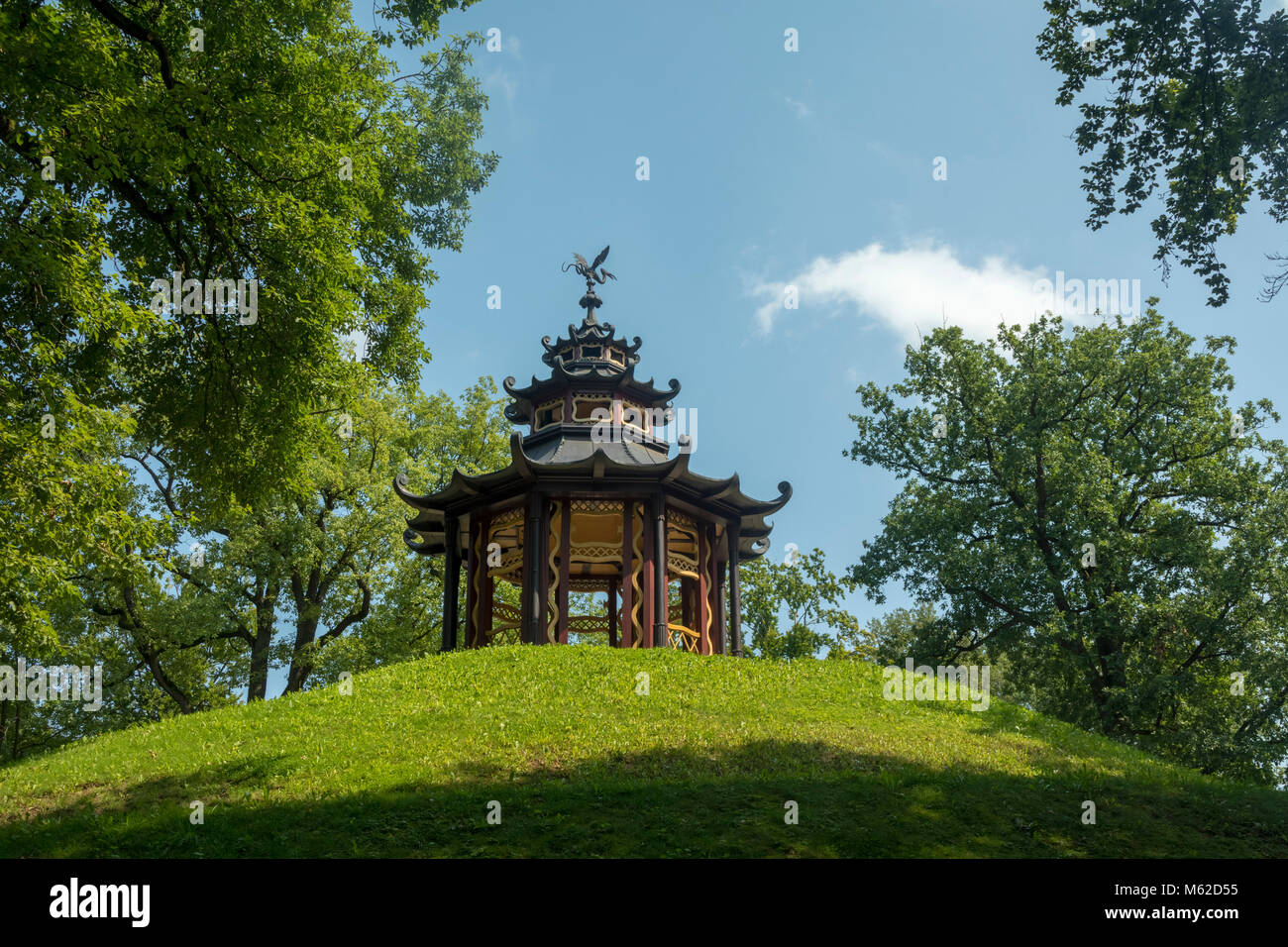wooden pagoda on the Schneckenberg, The Hermitage (Eremitage), Bayreuth, a historic park dating back to 1715. - Stock Image