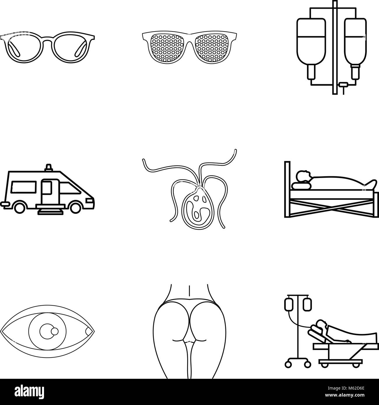 Humanitarian icons set, outline style - Stock Vector