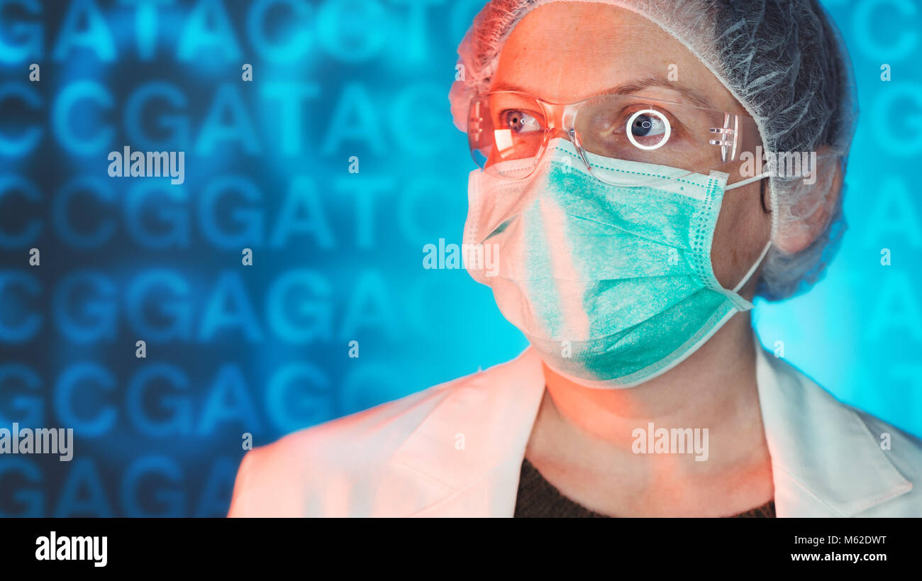 Medical geneticists diagnosing genetic disorders, healthcare medical professional working in hospital clinic - Stock Image
