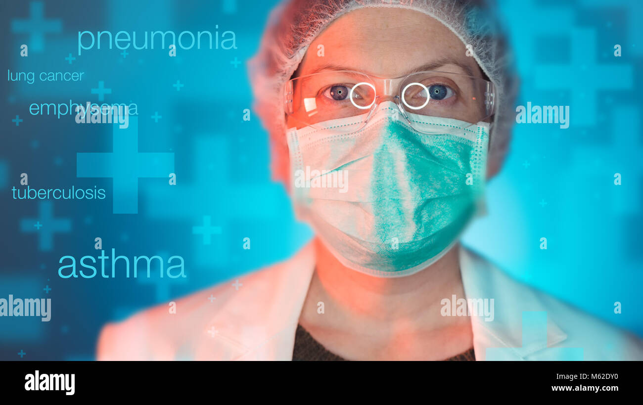 Pulmonologist healthcare professional in hospital clinic. Portrait of female medical specialist treating lung diseases - Stock Image