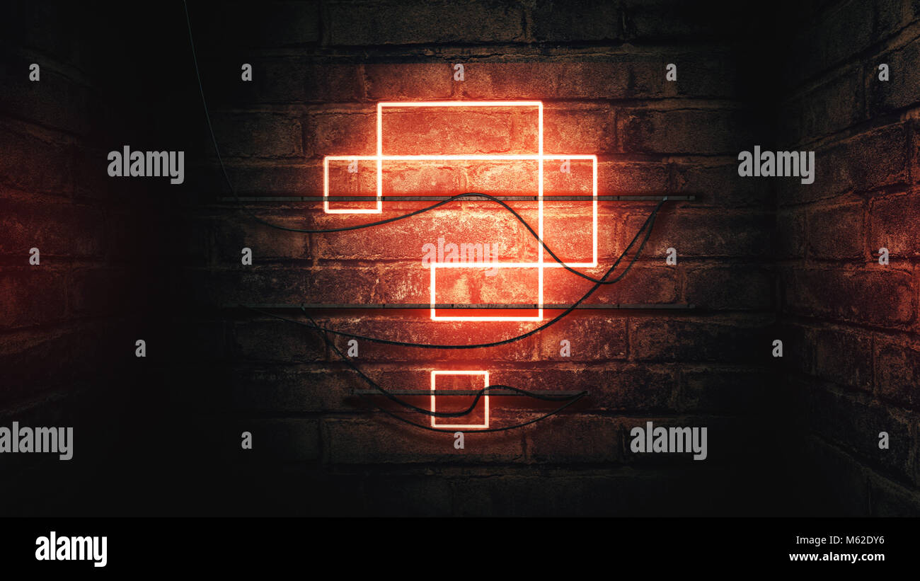 Question mark neon sign on brick wall, conceptual illustration for test, exam and looking for answers perplexed - Stock Image