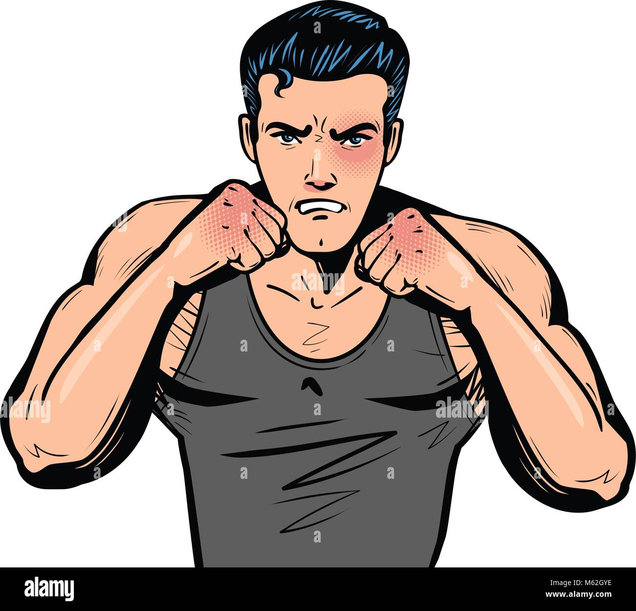 Fighter with fists. Fight club, combat, fighting or boxing in pop art retro comic style. Cartoon vector illustration - Stock Vector