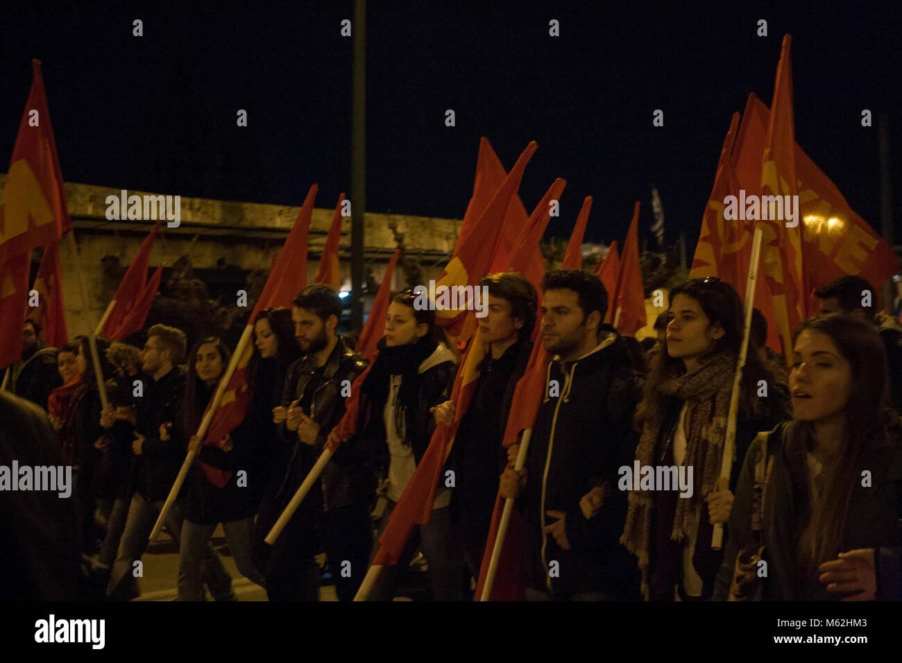 Athens, Greece. 27th Feb, 2018. KKE (Communist Party of Greece) organised a anti war and anti imperialist demonstration - Stock Image