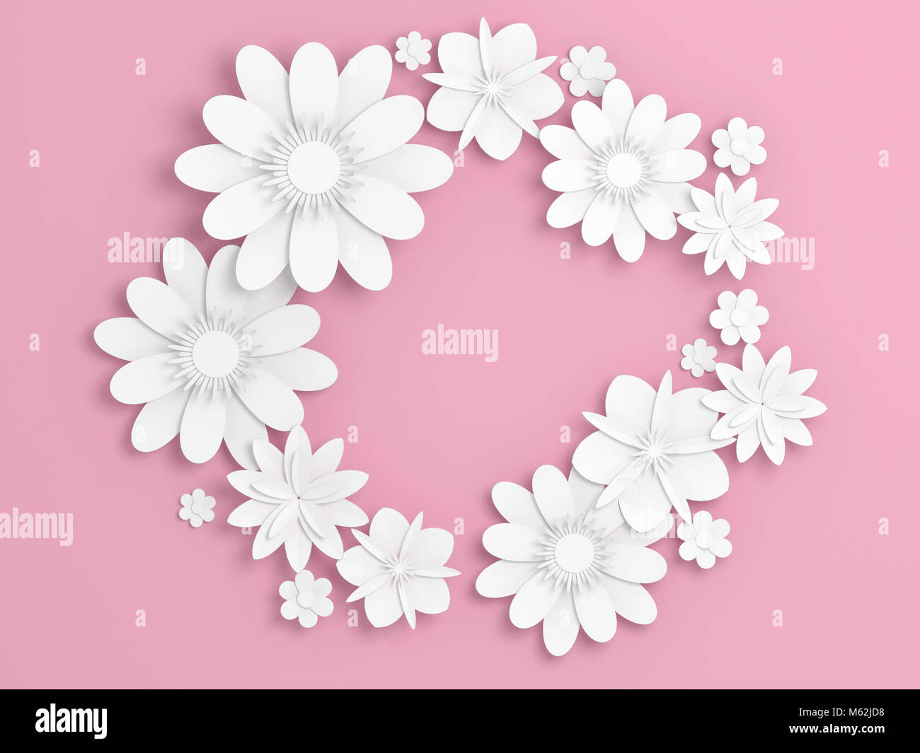White paper flowers decoration over light pink backdrop bridal white paper flowers decoration over light pink backdrop bridal greeting card ornamental background digital 3d render illustration mightylinksfo