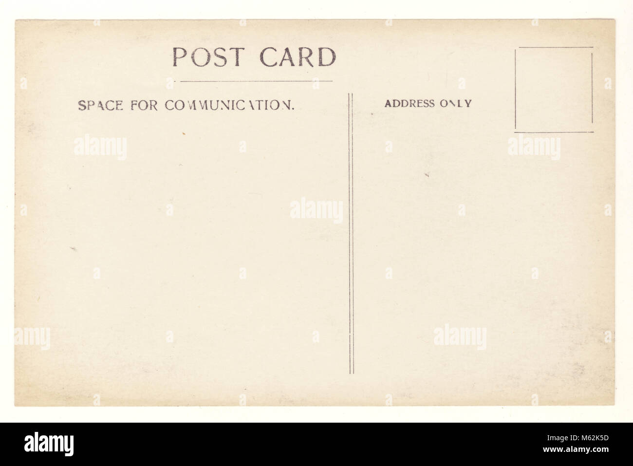 Reverse of Early 1900s postcard - Stock Image