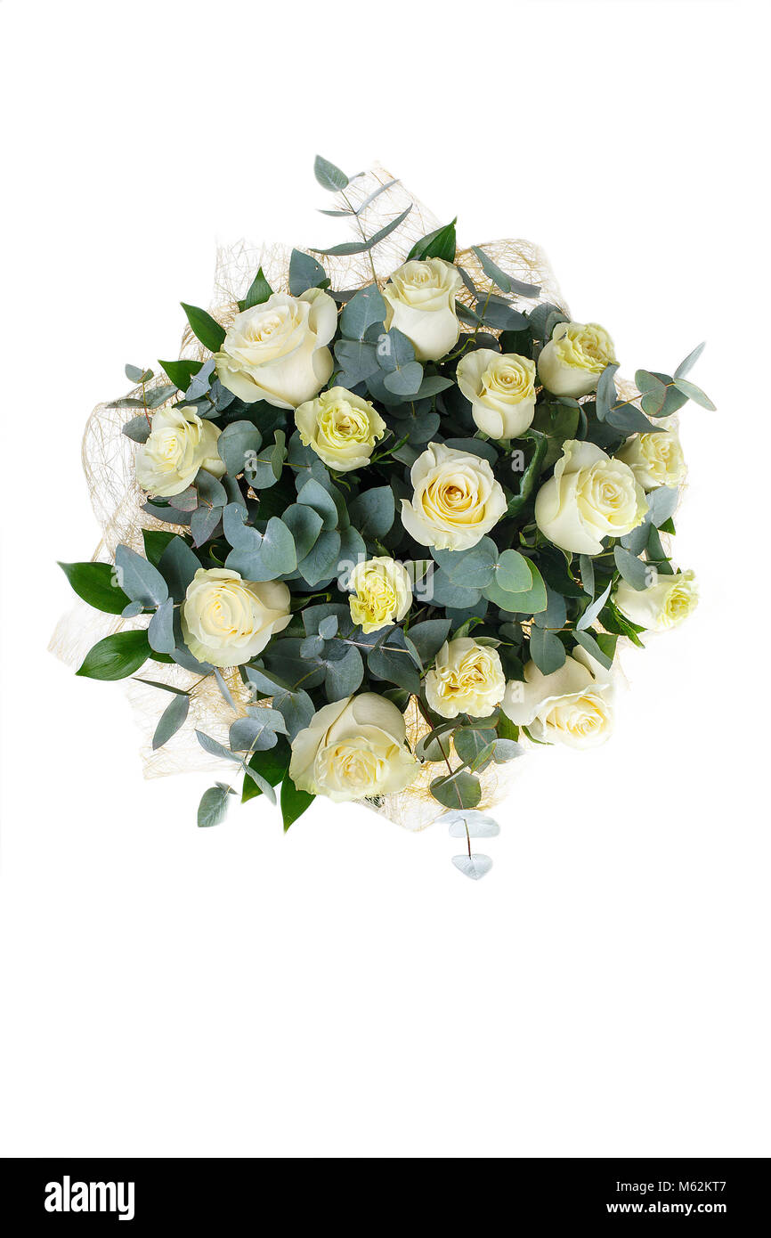 Bouquet Of White Roses Eucalyptus And Ruscus A Holiday Gift For Woman Big Smart View From Above Isolated