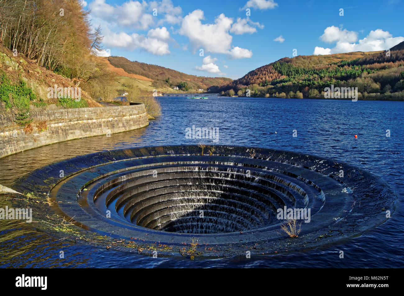 UK,Derbyshire,Peak District,Ladybower Reservoir and Plug Hole - Stock Image