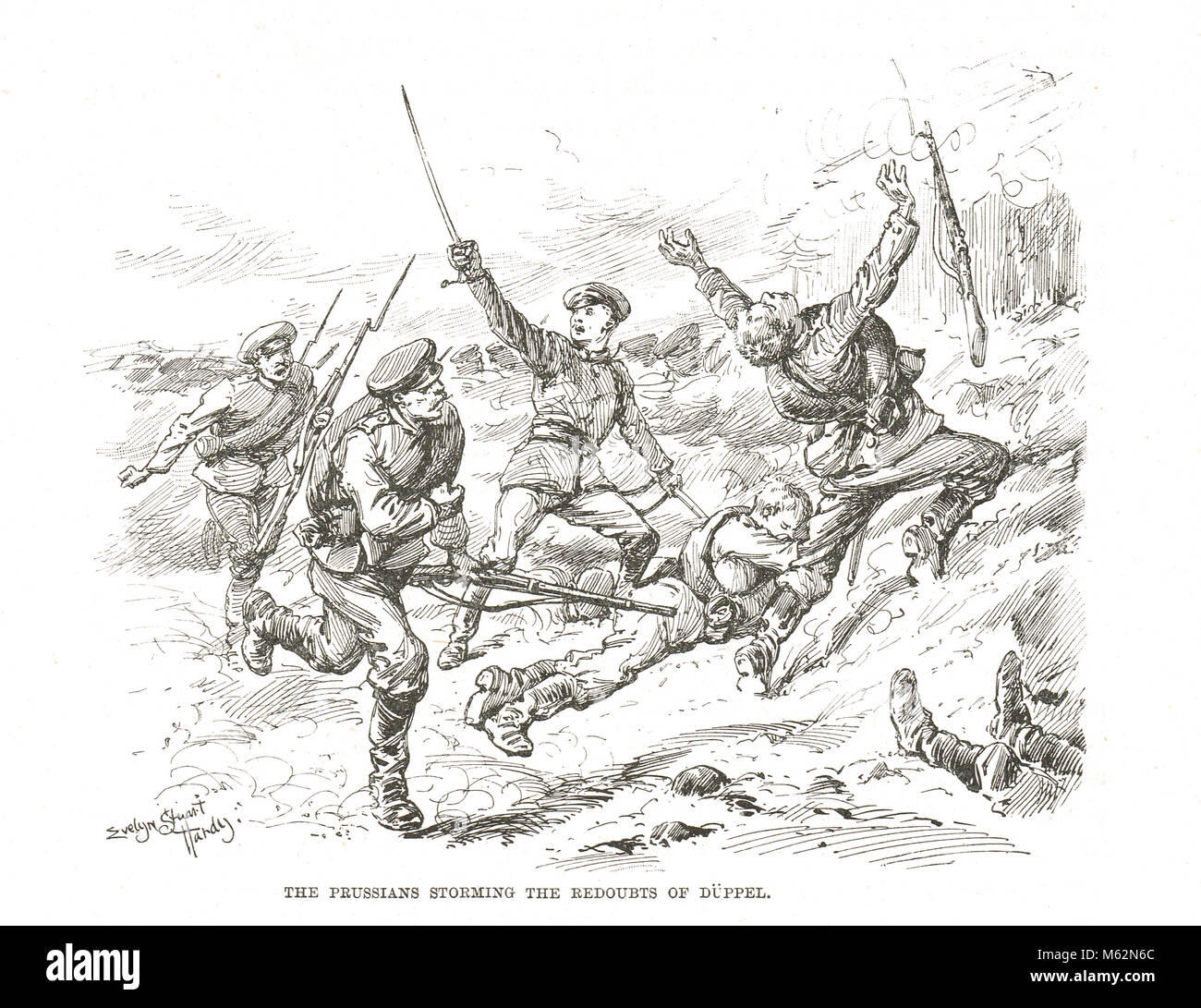 Prussians storming the redoubts at The Battle of Dybbøl, also known as Duppel, key battle of the Second Schleswig - Stock Image