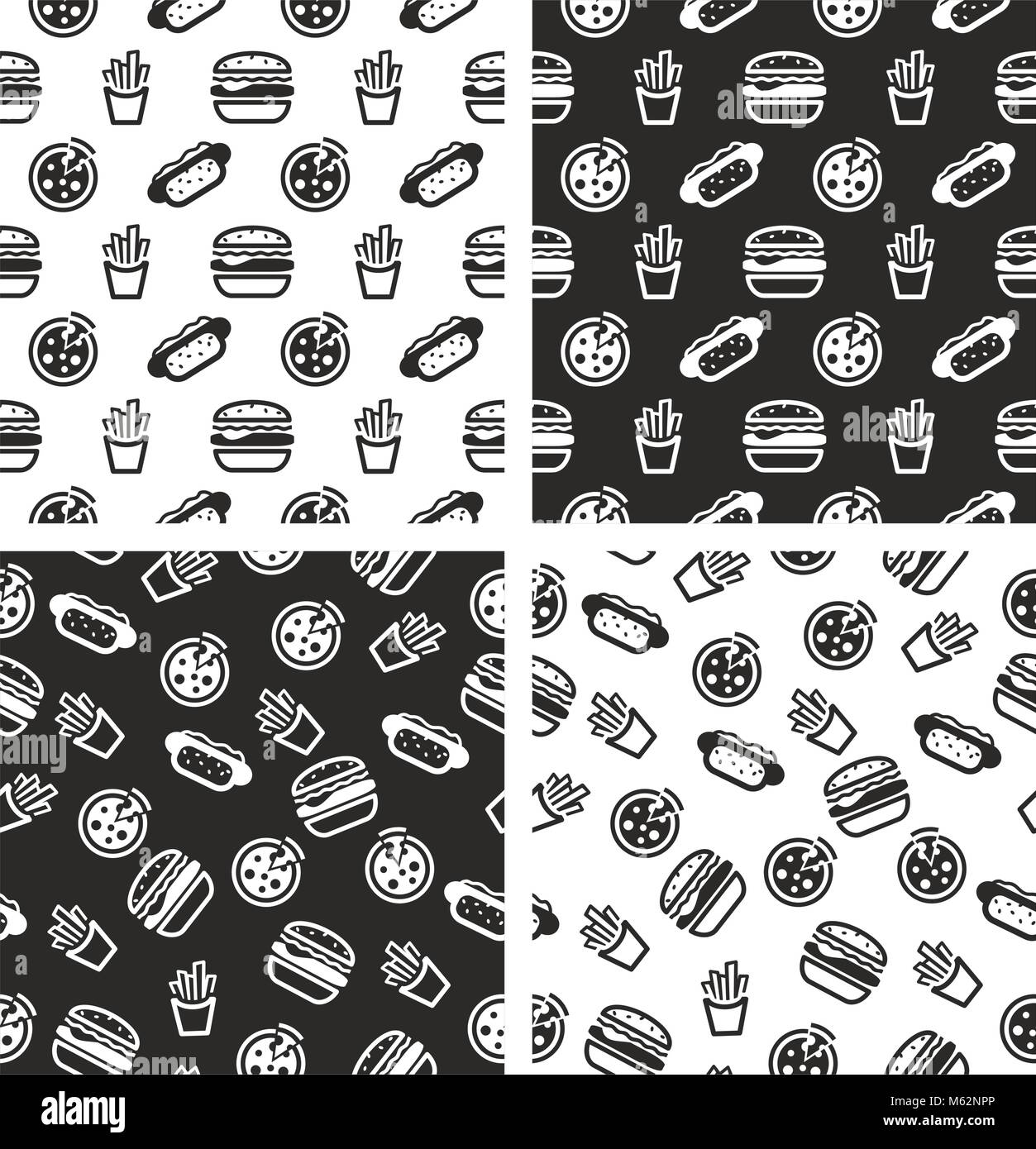 Fast Food Seamless Pattern Set - Stock Vector