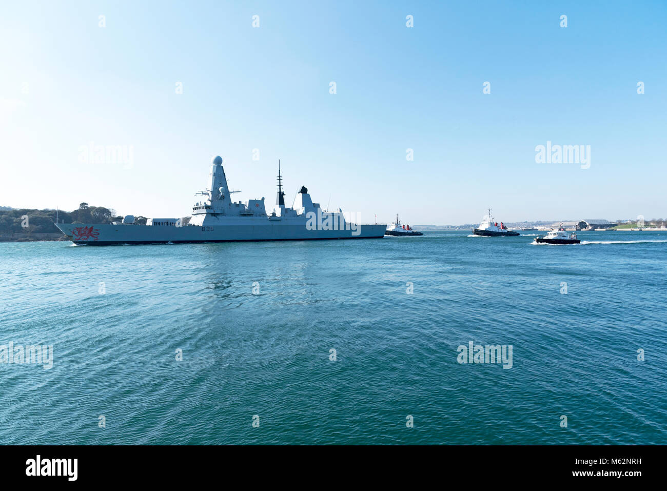 Plymouth, Devon, England, UK. HMS Dragon a type 45 Daring Class air defence destroyer departing Devonport. February - Stock Image