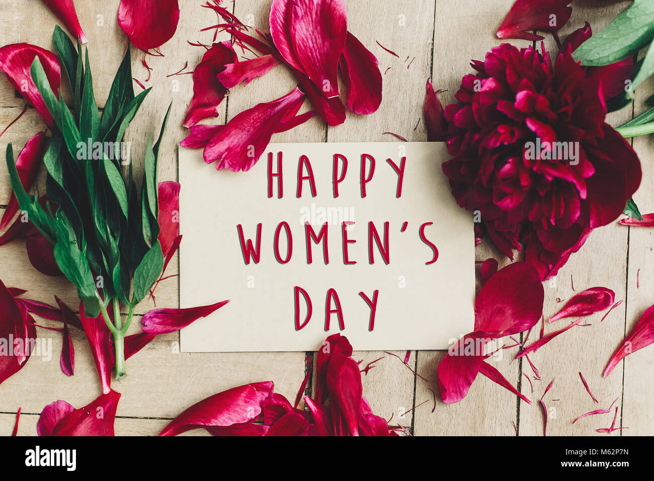 Happy Womens Day Text Sign On Craft Card And Beautiful Red Peonies