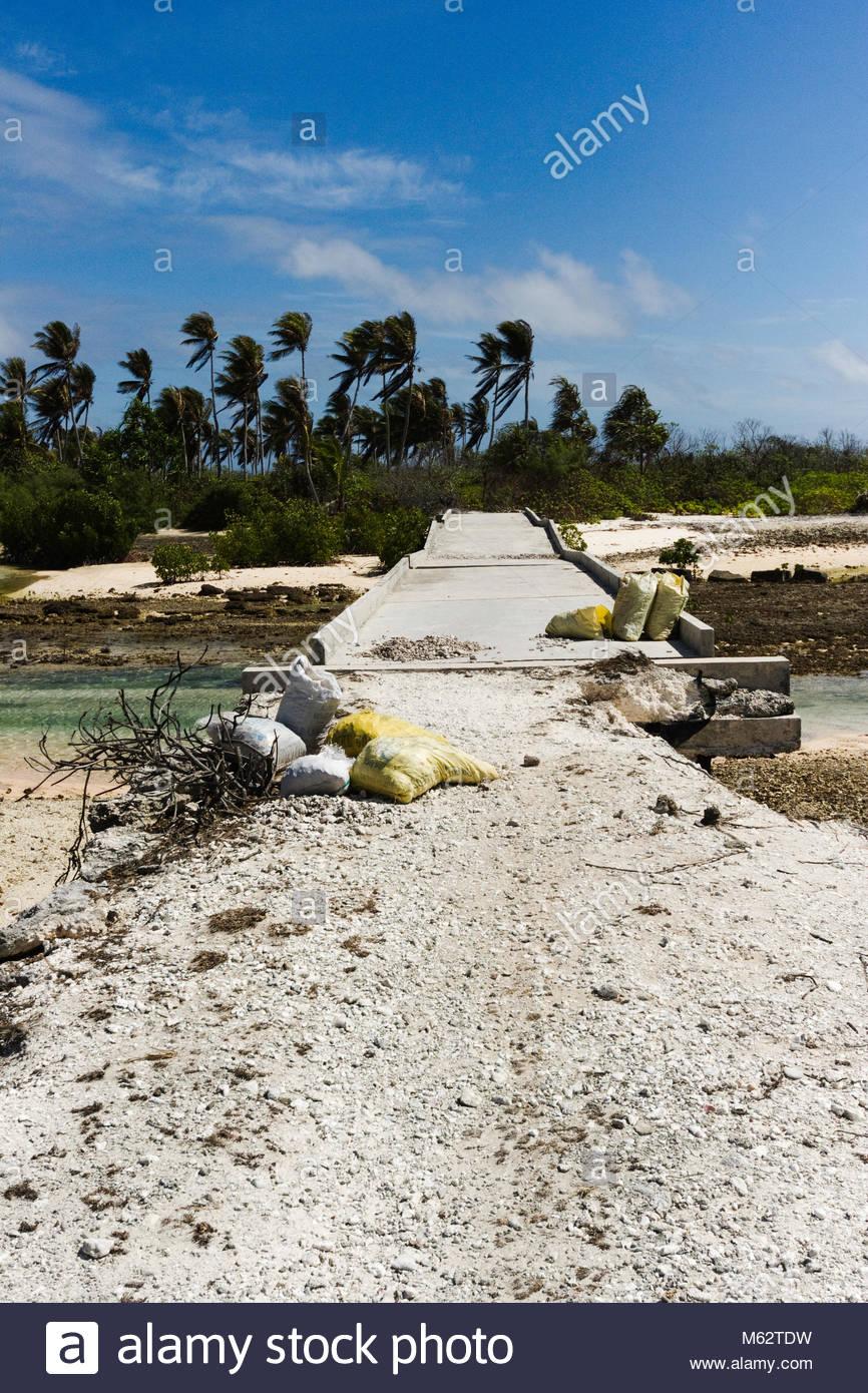 Collapsed bridge on Tabiteuea Island - Stock Image
