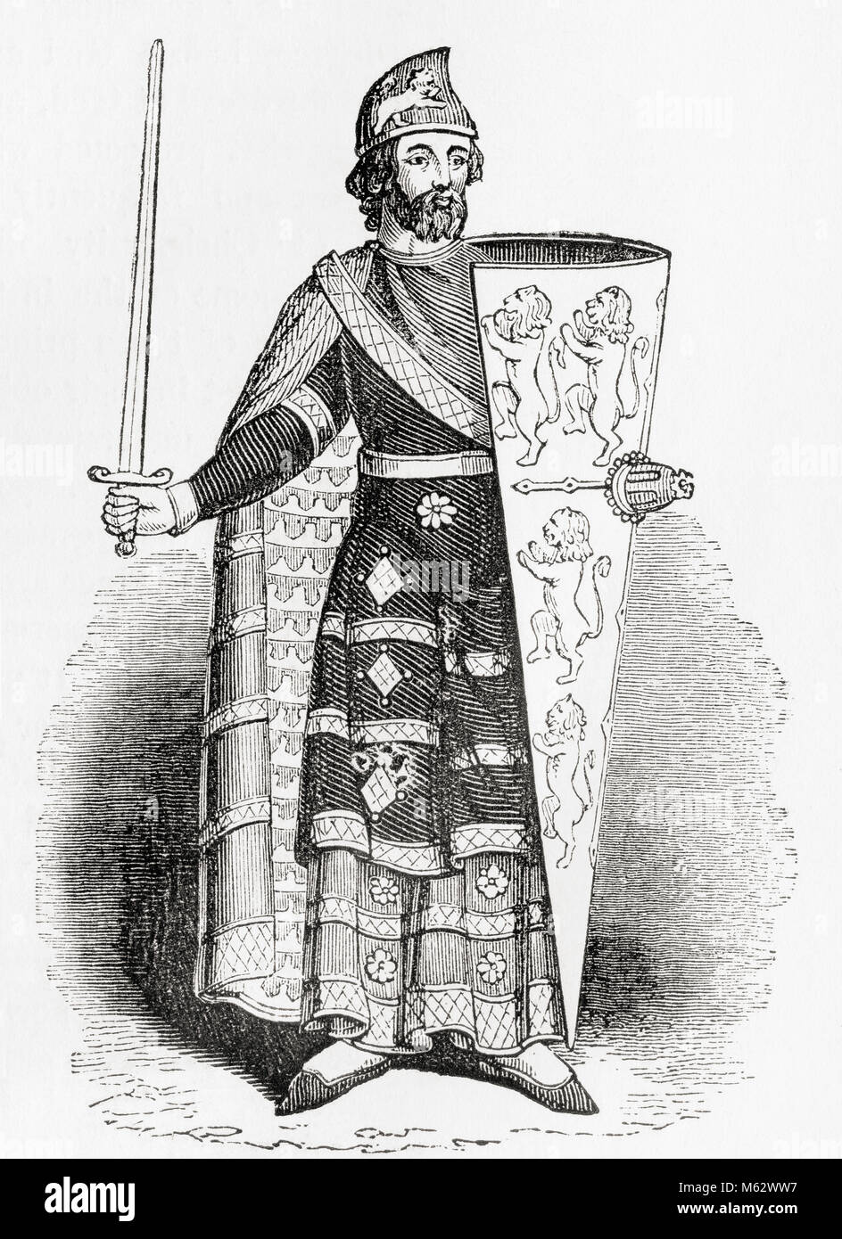 Geoffrey V, 1113 –1151,  called the Handsome or the Fair and Plantagenet.  Count of Anjou, Touraine, and Maine, - Stock Image