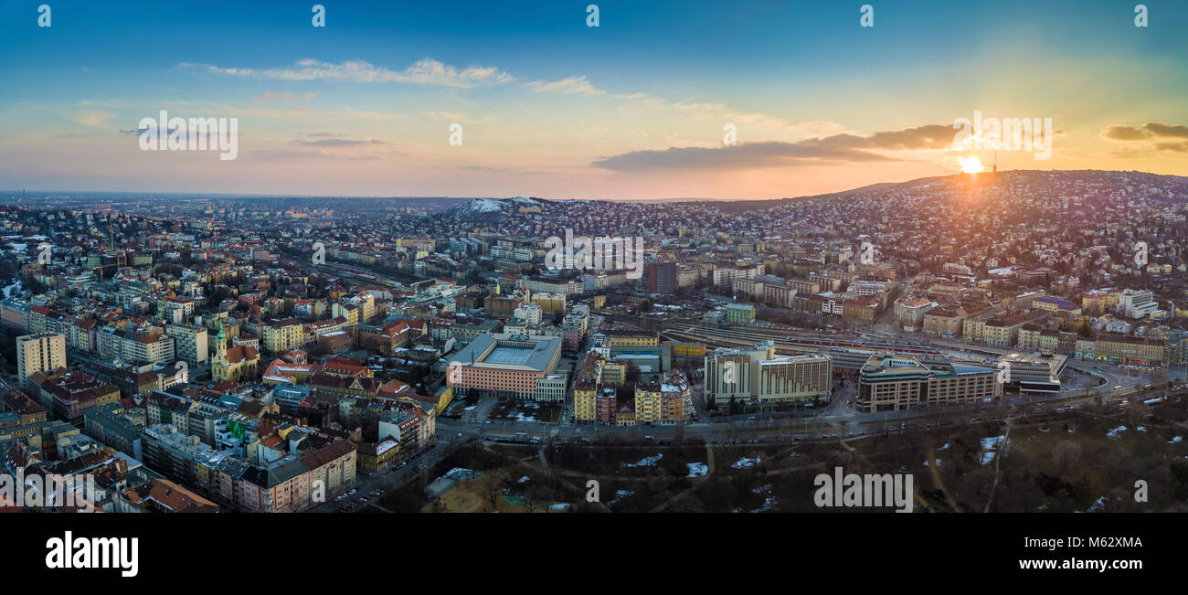 Budapest, Hungary - Panoramic aerial skyline view of the west Buda side of Budapest with railway station and Buda - Stock Image