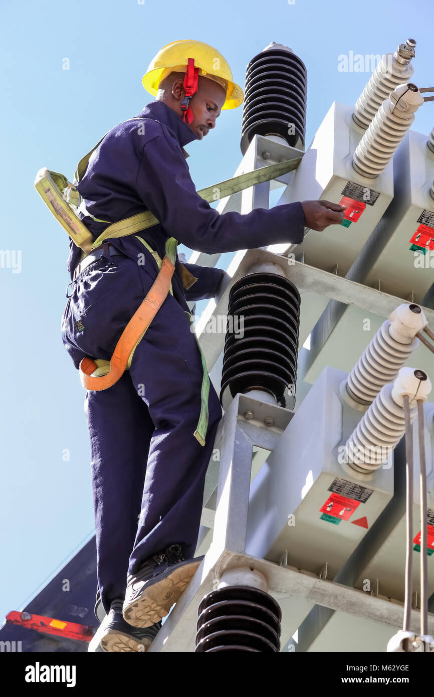 Highly Protective Stock Photos Images Alamy High Voltage Yard Training Simulator Electricians Working On Power Lines Skilled Workmen Servicing The Electricity Grid