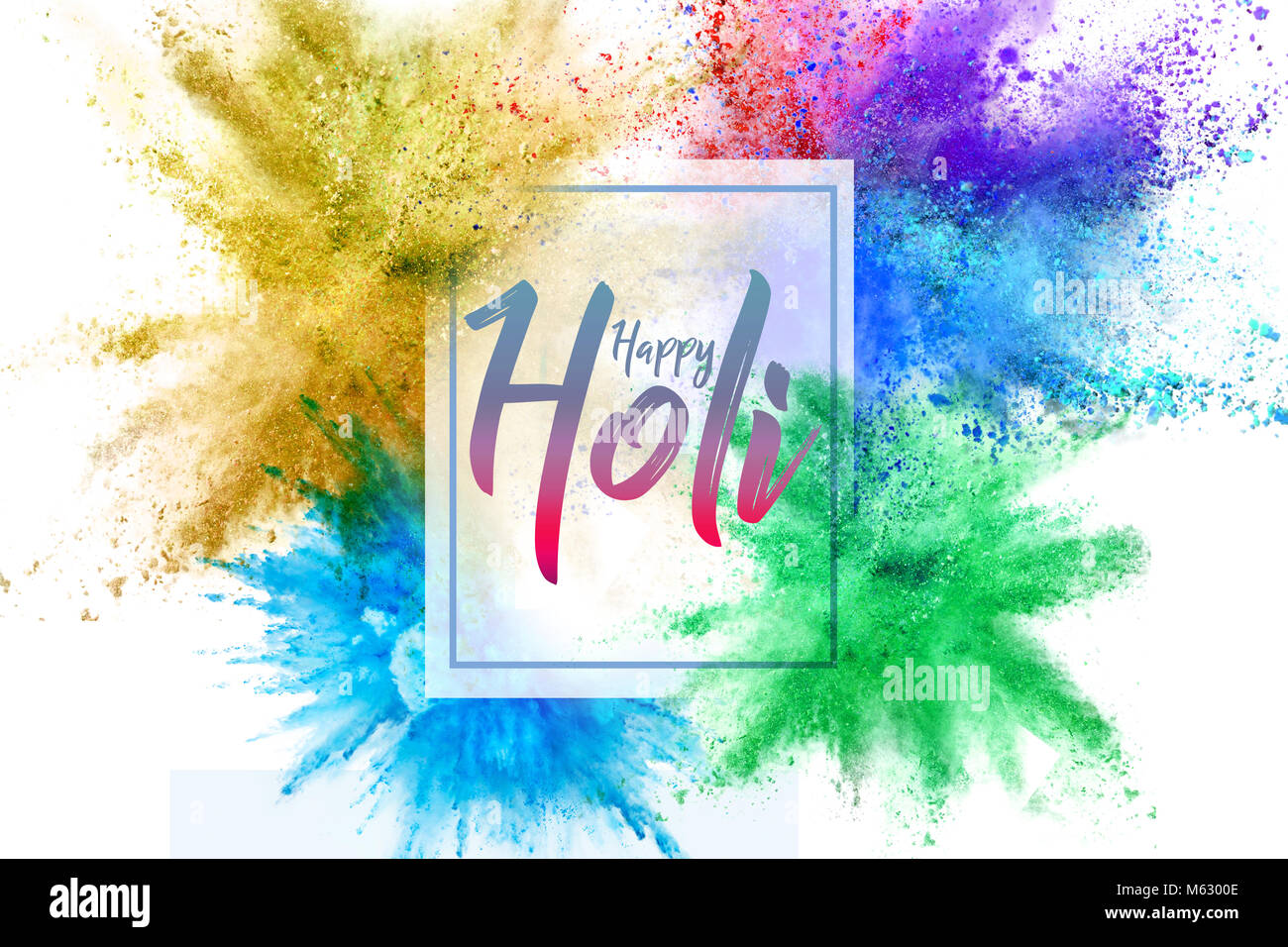 Happy holi festival colors greeting stock photos happy holi holi festival of colors abstract multi color powder explosion stock image kristyandbryce Image collections