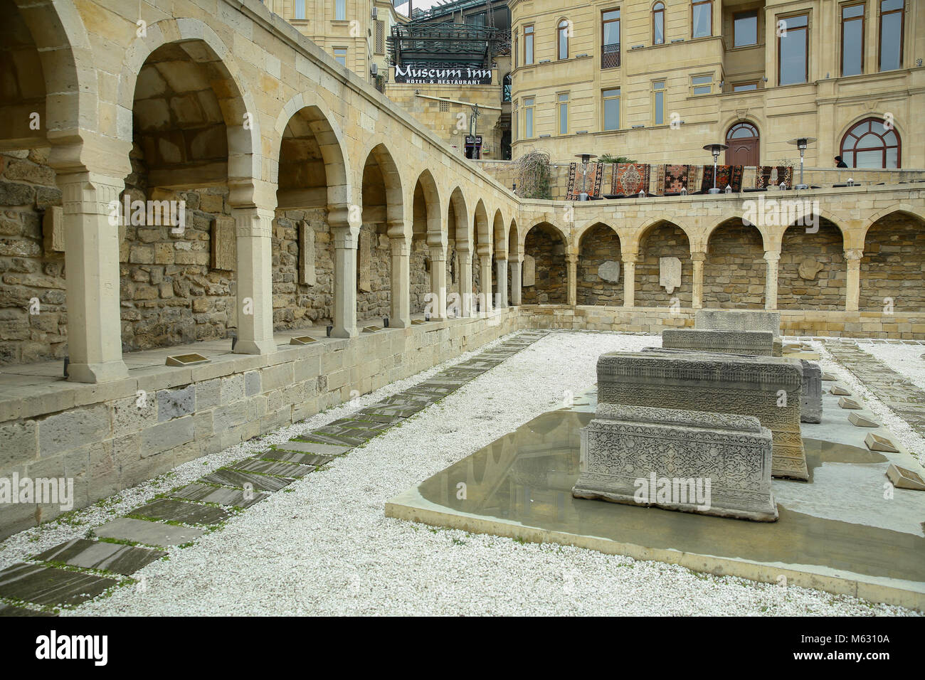 Arcades and religious burial Place in Old city, Icheri Sheher - UNESCO World Heritage Site - Stock Image