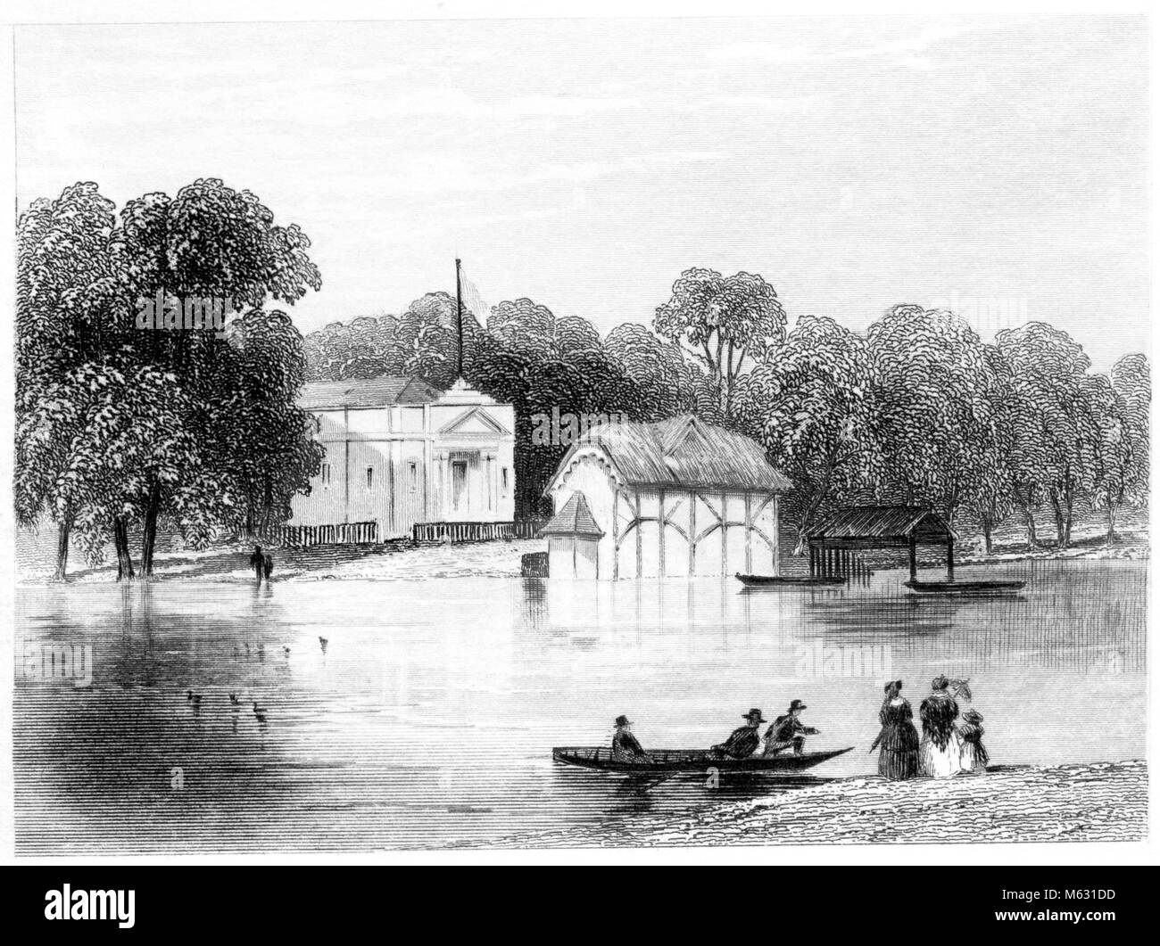 An engraving of the Royal Humane Society, Serpentine, London scanned at high resolution from a book printed in 1851. - Stock Image