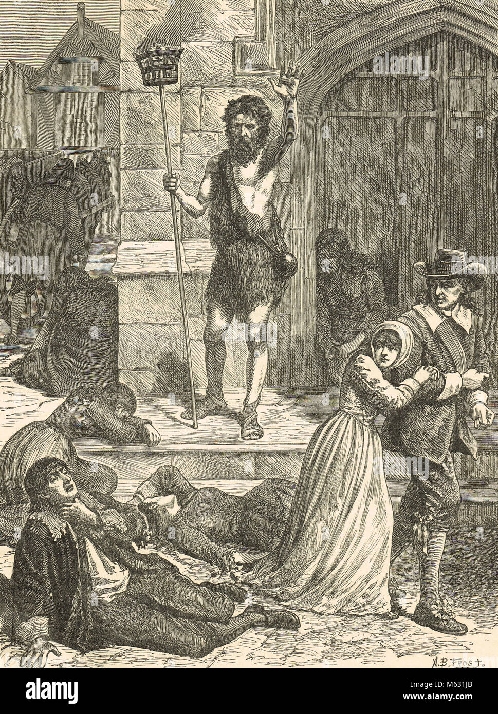 The Great Plague of 1665, the Enthusiast Denouncing London.  A Maniac preaching to the dead and dying in the street Stock Photo