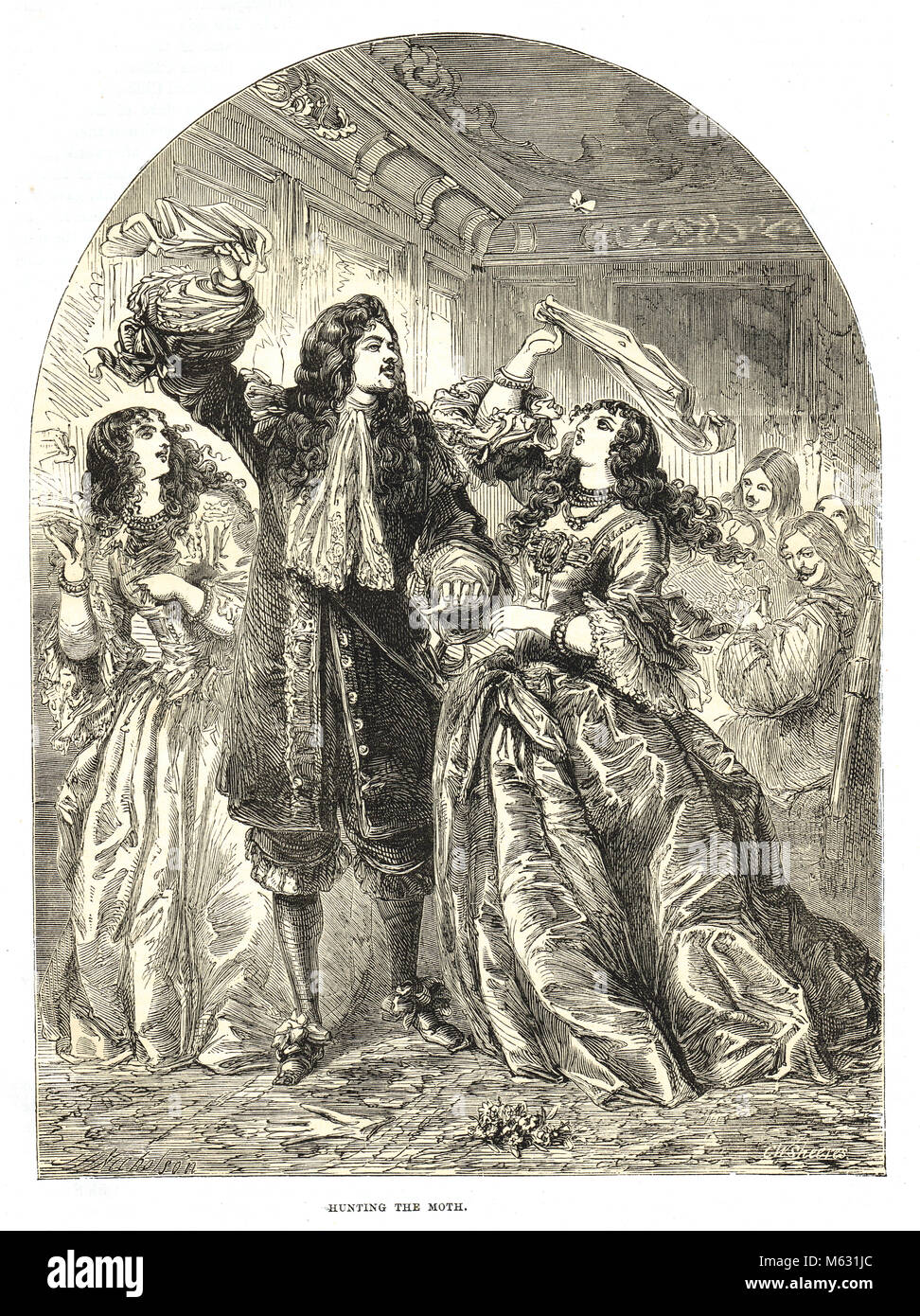 Charles II, the merry monarch, amusing himself with Ladies of his seraglio hunting a Moth, indifferent to the national - Stock Image