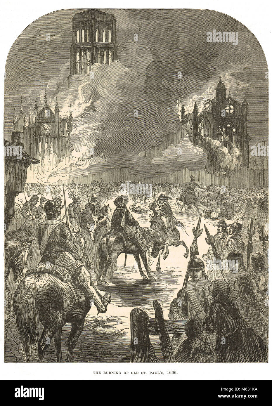Old St Paul's Cathedral on fire, Great Fire of London, September 1666 - Stock Image