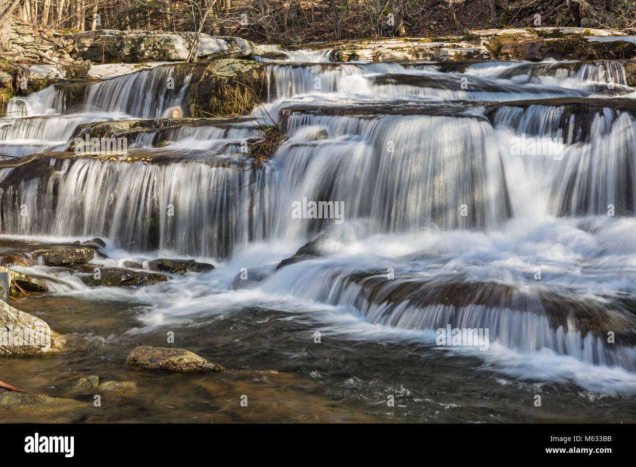 A multi-tiered waterfalls on Stony Clove Creek in Greene Country in the Catskill Mountains in Edgewood, New York - Stock Image