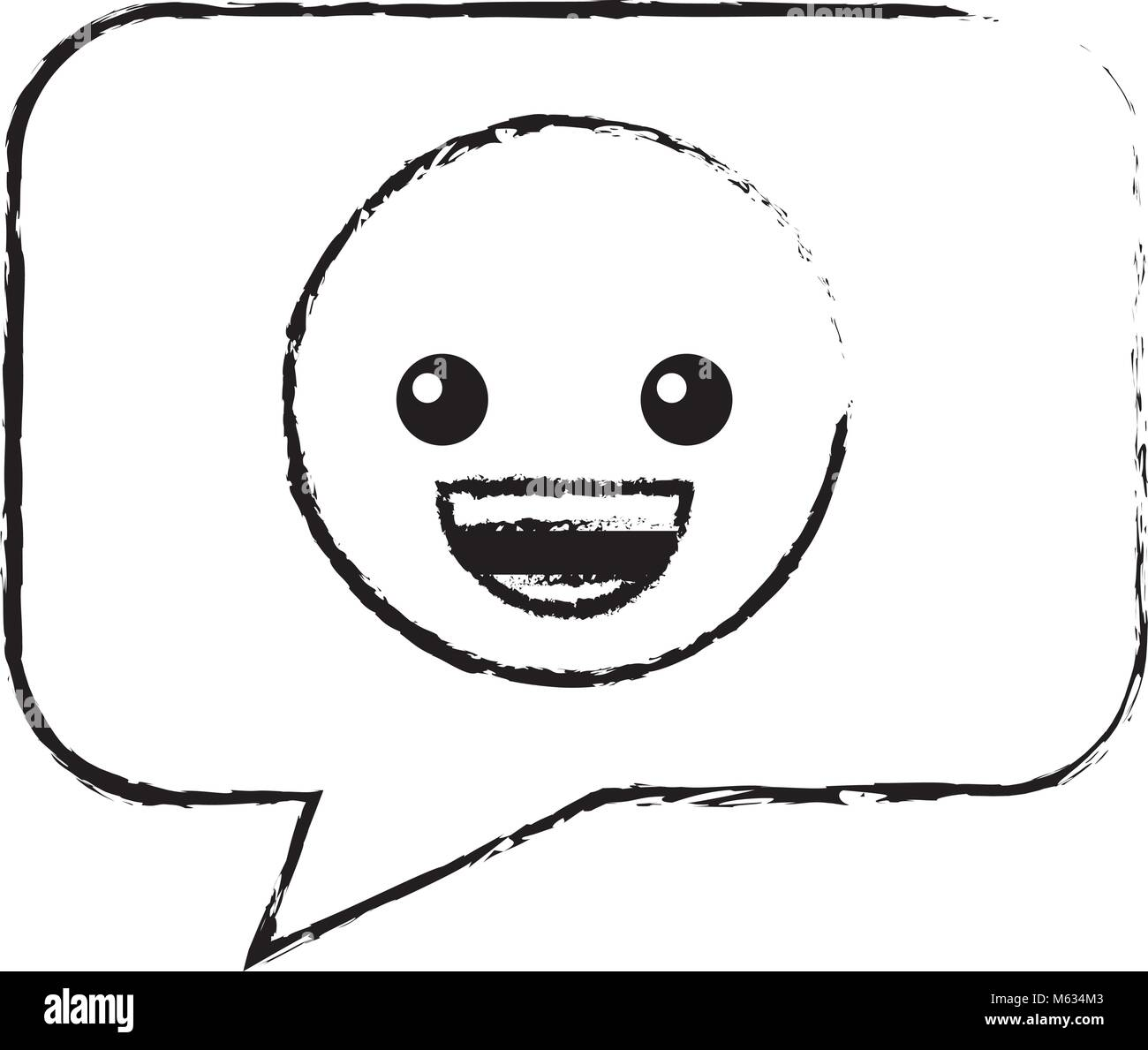 speech bubble with happy emoji Stock Vector Art & Illustration