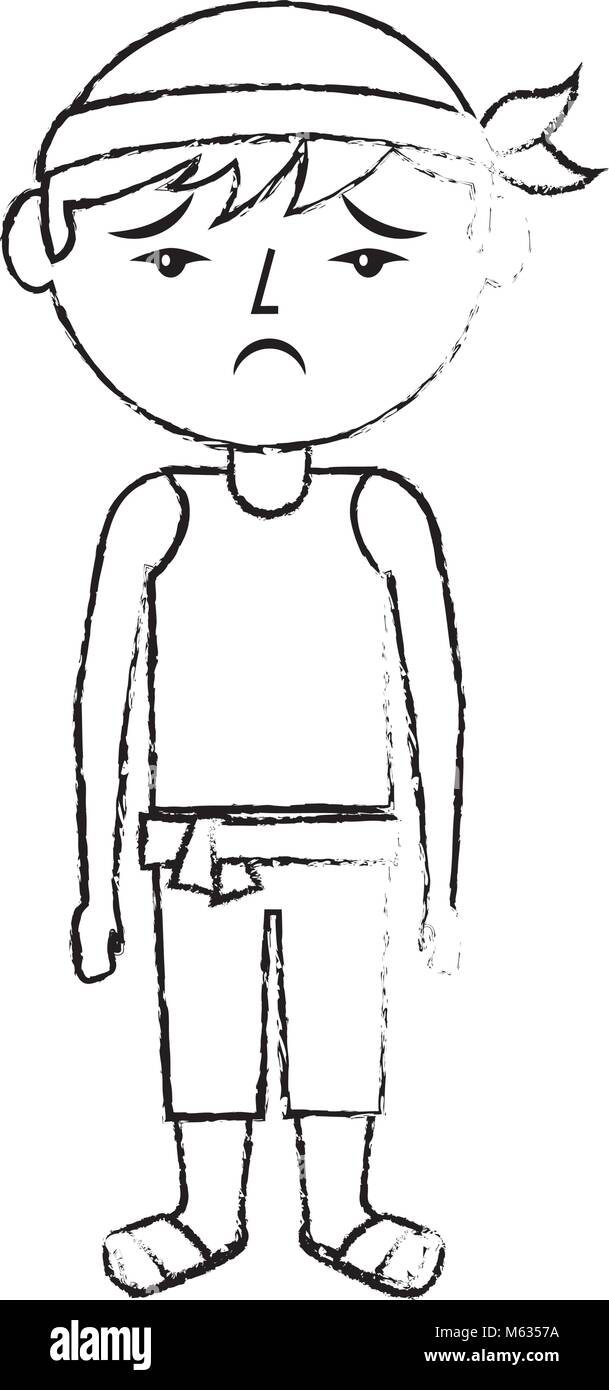 sad cartoon chinese man standing - Stock Image