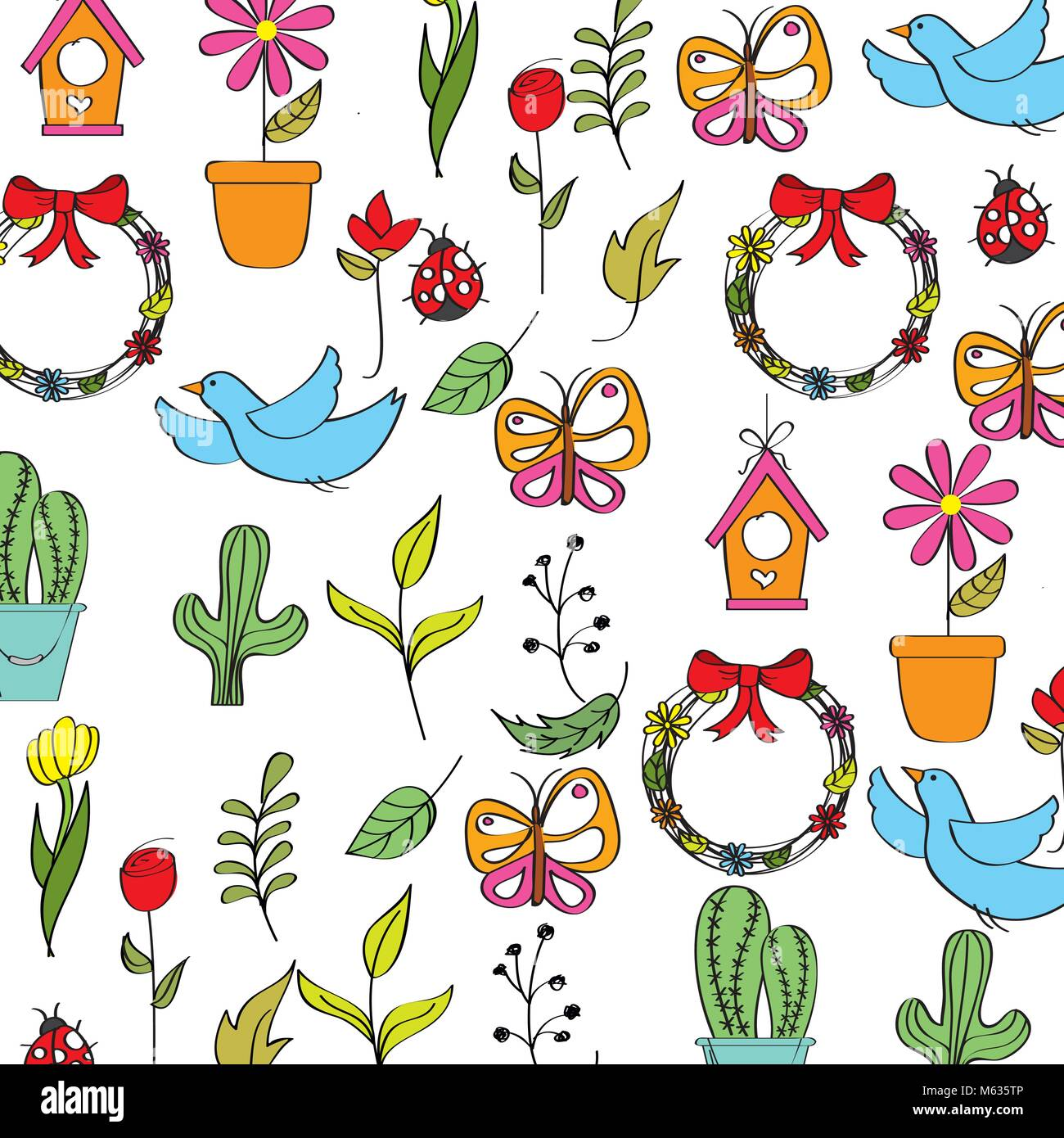 spring background with flowers butterflies ladybugs birds and leafs Stock Vector