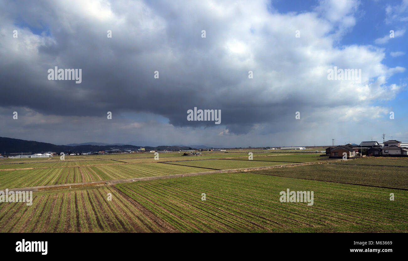 farmland in Kyushu, Japan. - Stock Image