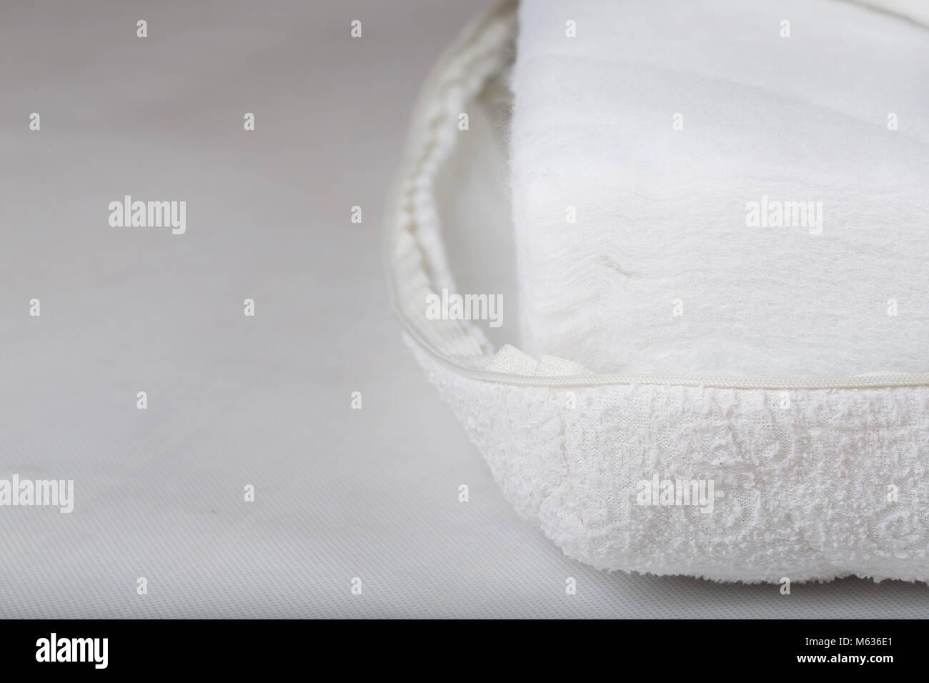 Mattress cover protection. Closeup - Stock Image