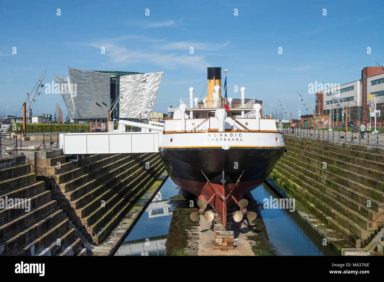 The ship 'nomadic cerbourg' at the Titanic Museum in Belfast - Stock Image