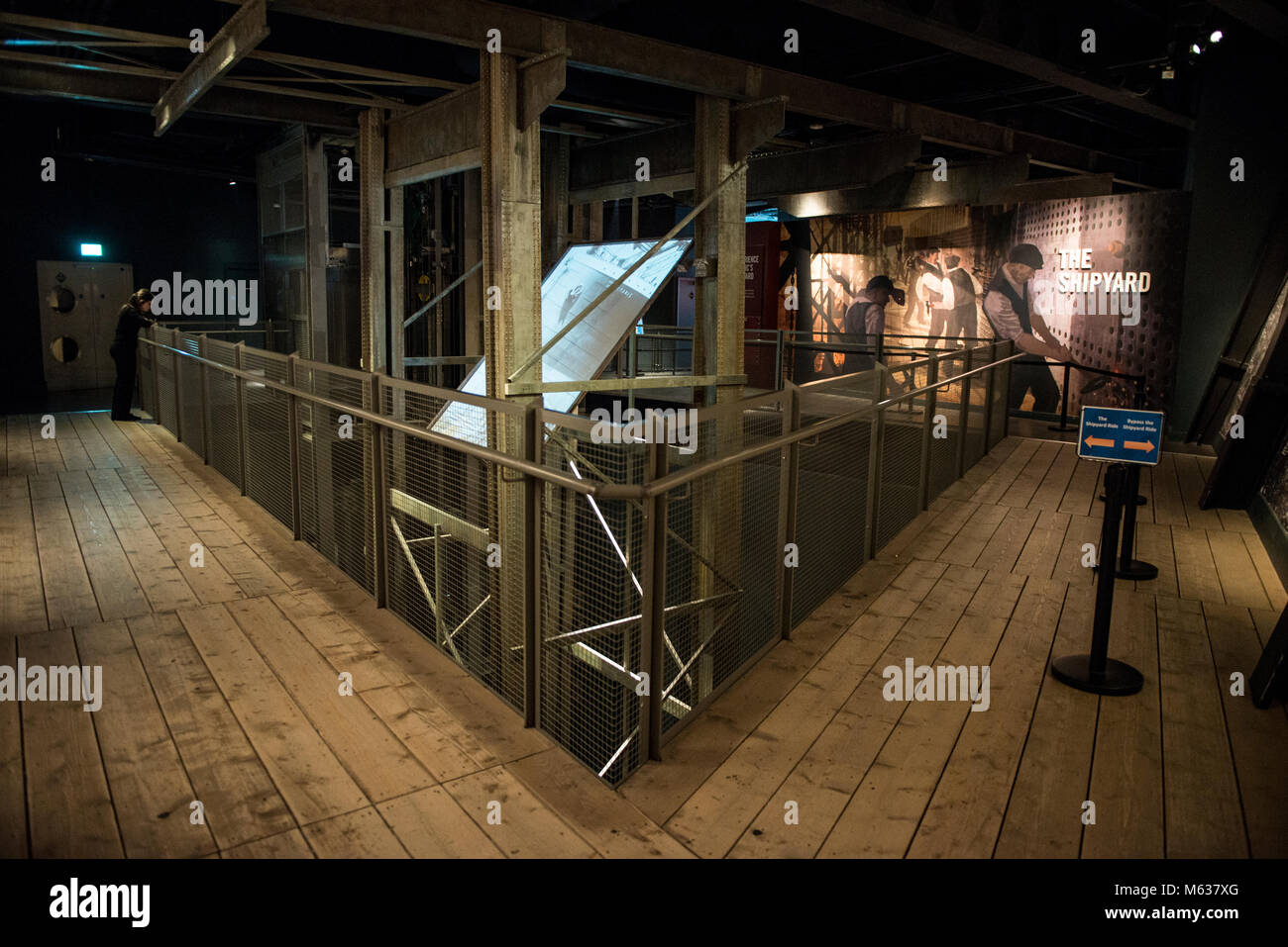 Interior of the Titanic Museum showing the story of the Titanic shipyard in photos, videos and interactive applications - Stock Image