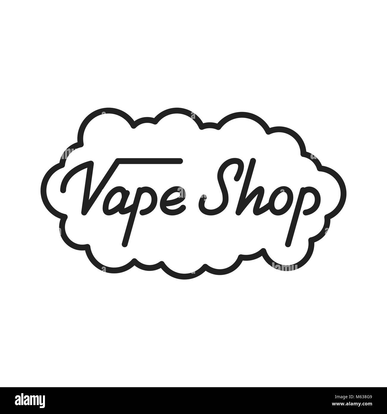 Vape Shop. Vape Shop lettering illustration. Vape Shop label badge emblem - Stock Image