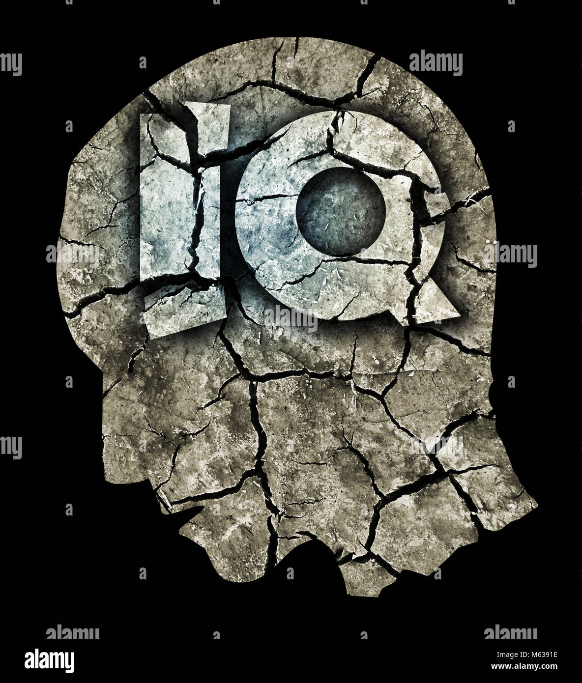 Dementia Intelligence quotient concept. Photo-montage with Dry cracked earth and Male head with Intelligence quotient - Stock Image